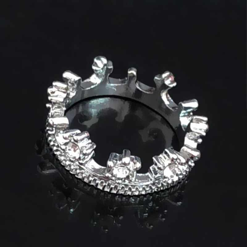 C469 Hot Sale Fashion Rhinestone Princess Crown Ring Wedding Jewelry Wedding Accessories For Women Crystal Anillos Anel Girl