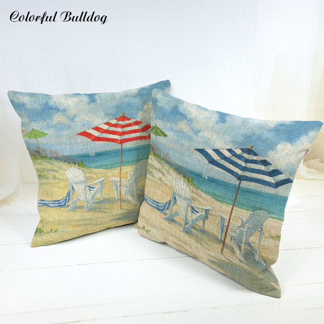 Beautiful Classic Cushions Cover Parasol Beach Chair Vintage Shabby Chic  Wood Car Seat Woven Linen Home