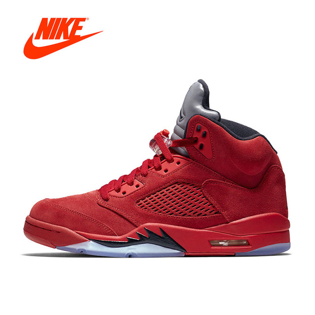 New Arrival Official Nike Air Jordan 5 red Suede AJ5 Men\u0027s Breathable Basketball  Shoes Sports Sneakers
