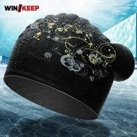 ชุดว่ายน้ำหญิงมืออาชีพป้องกันหูหมวกว่ายน้ำสำหรับสตรียาวผมกันน้ำซิลิโคนอ่อนนุ่มหมวกกีฬ...