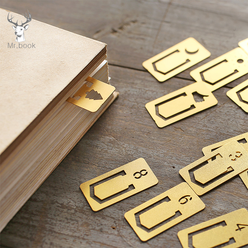 12pcs/set Vintage Gold Brass Bookmark Number Design Creative Bookmarks Promotional Gifts Kawaii Stationery Gifts School Supplies