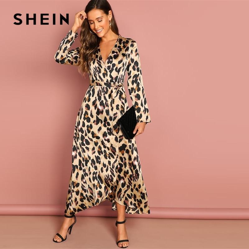 SHEIN Going Out Multicolor Surplice Wrap Satin Leopard Deep V Neck  Half Sleeve Dress Elegant Women Autumn Modern Lady Dresses 2