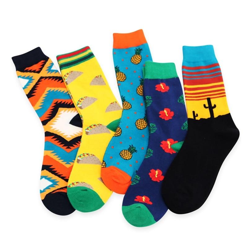 Sox Meias Men Crew Socks Dress Men Socks Men Brand Street Skateboard Socks Casual beach Cotton Happy Funny Harajuku