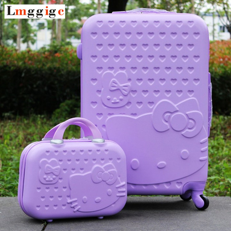 цена на Women Hello Kitty Rolling Luggage Travel Suitcase bag set,Children Cartoon Universal Wheel Box , Light purple ABS Trolley case