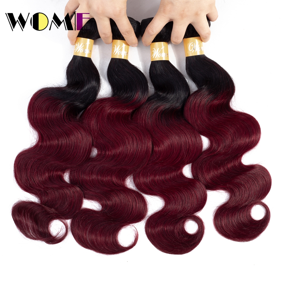 Wome Hair Pre colored Ombre Indian Body Wave 4 Bundle Deals 1b 99J Ombre Indian 100