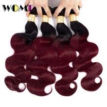 Женские волосы предварительно цветные Омбре индийские волнистые волосы 4 пучка предложения 1b/99J Омбре индийские человеческие волосы пучок s не Реми волосы 4 шт./партия