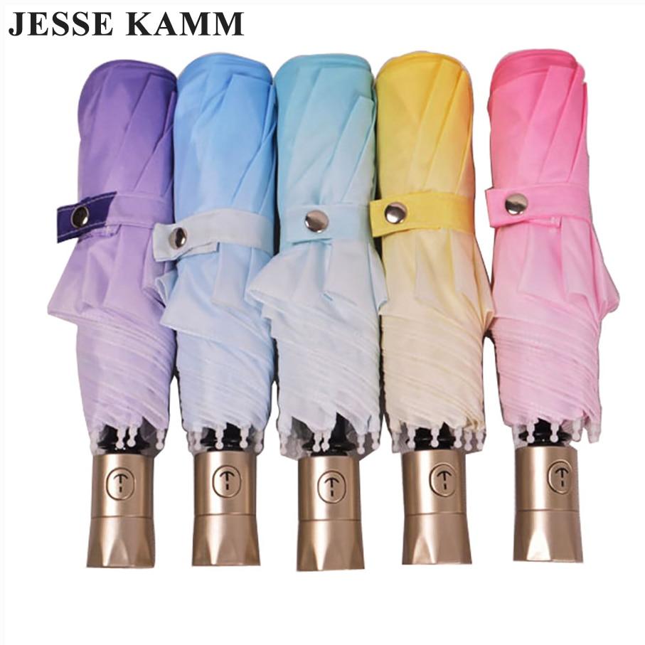 مظلة أوتوماتيكية بالكامل التدرج اللون مظلة للطي مظلة الشمس مظلة حماية للأشعة فوق البنفسجية المرأة مظلة التلقائي
