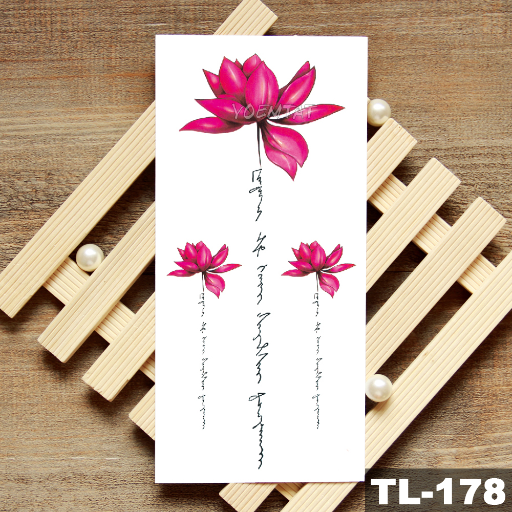 Lotus Peony Rose Flowers Waterproof Temporary Tattoo Sticker  Minimalist Flash Tattoos Body Art Fake Arm tatoo Women 3