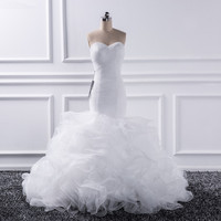 Katristsis d 2018 Mermaid sweetheart Wedding Dresses Vestido De Noiva Sheer Lace Up Bride Tull Ruffles Bridal Dress Gown