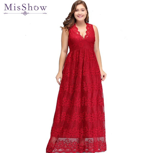 Red Lace plus size evening dresses Deep V Neck Long Prom Evening Party Dress  2019 Elegant vestidos de noche largo Formal Gown a9956481a258