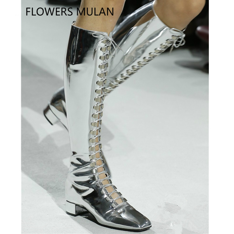 New Catwork Metallic Silver Soft Leather Zapatos Mujer Lace Up Women Boots Chunky Heels Studded Knee High Boots Woman Botas