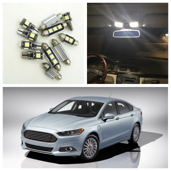 12Pcs White LED Light Bulbs Interior Package Kit For Ford Fusion 2010 2011 2012 2013 2014 Map License Plate light Ford-B-07 - discount item  35% OFF Car Lights