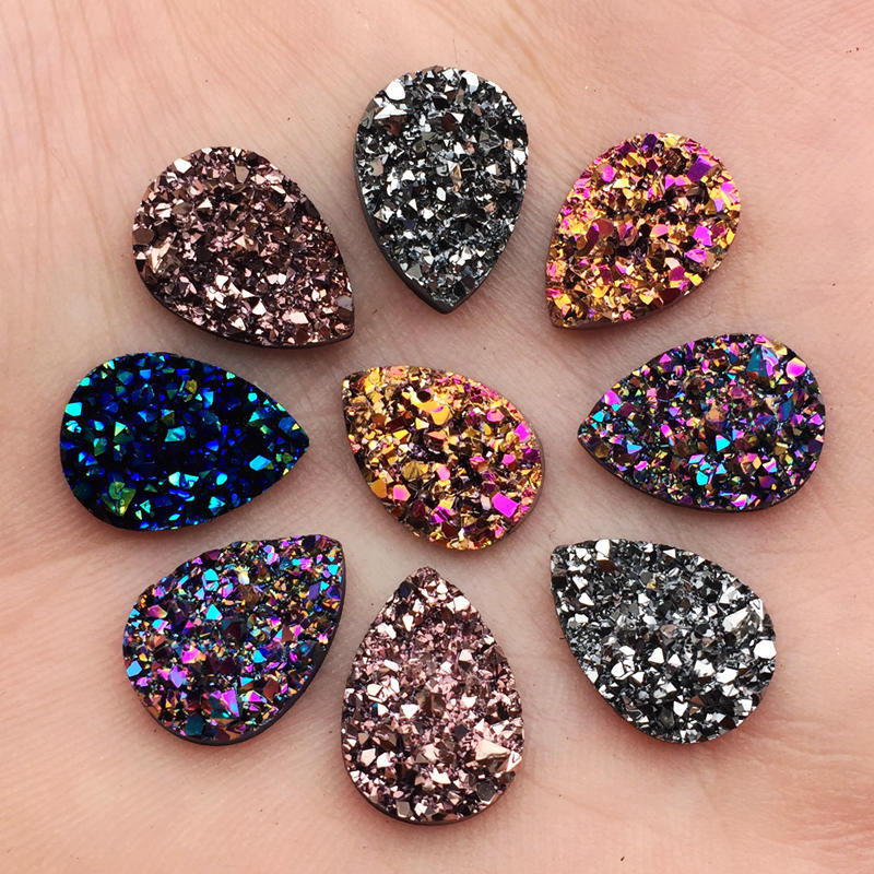 50PCS 10 14mm Bling AB Colors Mineral Surface Resin Rhinestone Flatback  Cabochon Stone DIY Wedding 9deb650c5370
