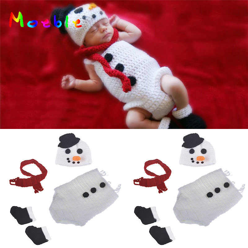 Moeble Crochet BABY Snowman Hat Romper Scarf Set Newborn Snow man Costume  Knitted Christmas cosplay Cartoon 04c5b8e65cd