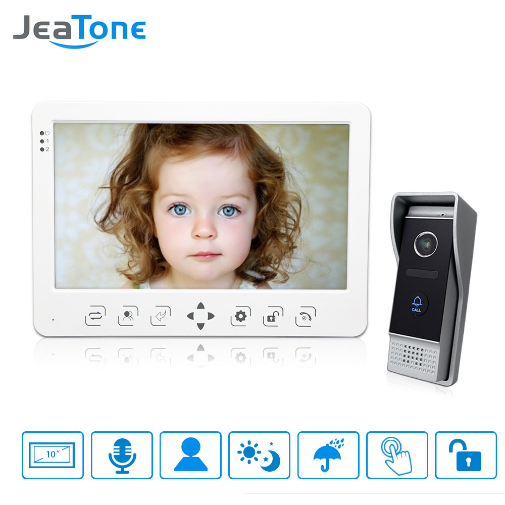 JeaTone 10 New TFT Color Monitor Video Door phone Intercom IR Night Vision Camera Doorbell Video for Home villa / Apartment Kit diysecur 7inch video door phone doorbell video intercom metal shell camera led night vision 1 monitor black for home office
