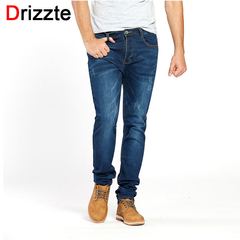 Drizzte Mens Stretch Jeans Denim Blue Stylish Jean Trousers Pants for Man Size 28-42 Lengthened Plus Size long Jeans drizzte men s jeans classic stretch blue denim business dress straight slim jeans size 34 35 36 38 pants trousers jean for men