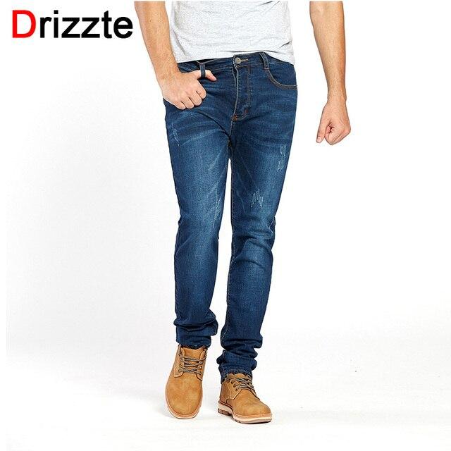 b91f6c2750682 Drizzte pantalones vaqueros elásticos para hombre Pantalones vaqueros  azules elegantes para hombre talla 28-42