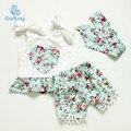 2016 nuevo bebé mameluco del bebé floral de la vendimia del corazón del estilo de ropa de bebé niño de manga corta del mono del cabrito ropa