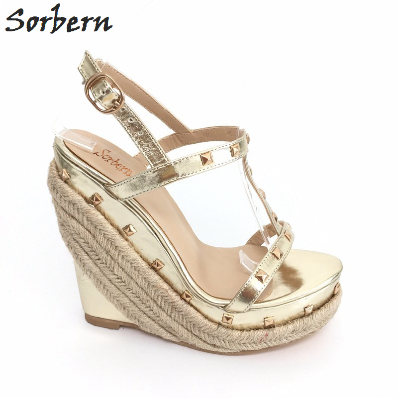 Sorbern Light Gold Rivet Women Sandal With Wedge Heels Platform Rope Shoes Woman T-Strap Open Toe Sandals High Heels Custom stylish women s sandals with color rivet and t strap design