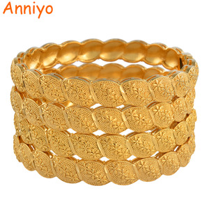 Image 1 - Anniyo Middle East Arab Dubai Bangle Bracelet for Women African Gold Color Jewelry Trendy Gifts (4PCS/LOT) #117806
