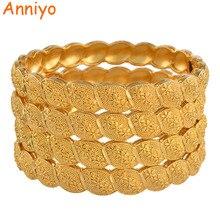 Anniyo Nahen Osten Arabischen Dubai Armreif Armband für Frauen Afrikanische Gold Farbe Schmuck Trendy Geschenke (4 teile/los) #117806