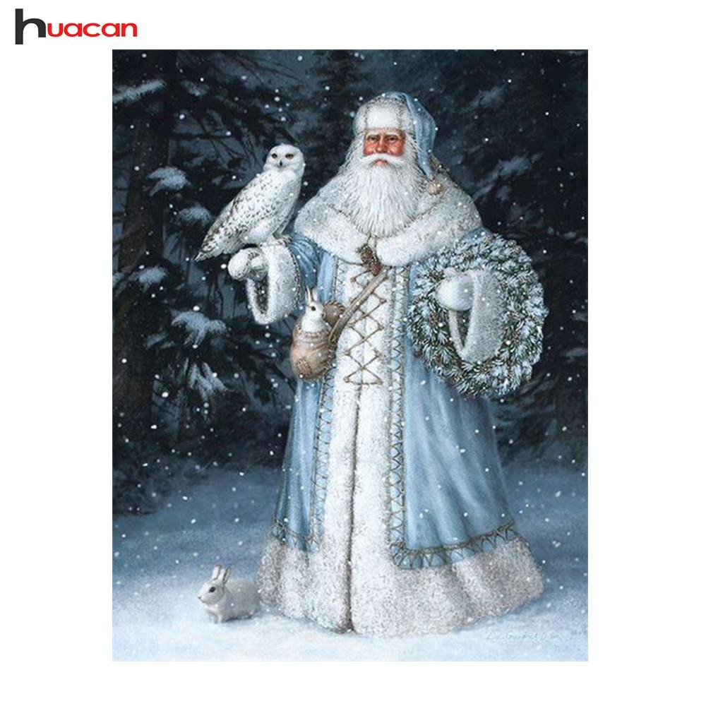 HUACAN Santa Claus Diamant Malerei 4 Farben Volle Quadrat Mosaik Diamant  Für Winter Decor Kreuz Stich