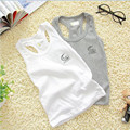 Hot sale Children 100% Cotton Vest 2017 Solid Color Cute Boys Girls Clothing Costume White gray