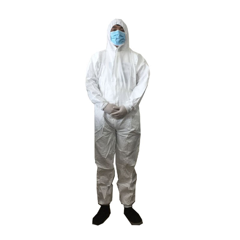 2 Pcs Disposable Protective Clothing Coverall Industrial Protection Hooded Anti-Static Protective Suit Elastic Non-Woven
