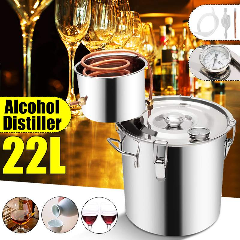 22L Distiller 20L Moonshine Alcohol Stainless Copper DIY Home Water Wine Essential Oil Brewing Kit