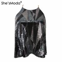 She SModa Metal Chain Sequins Top Geometric Women S Spandex Club Party Tank Camis Vest