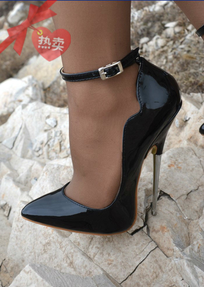 Black Patent Leather Wave Edge 16cm Steel Metal Heel <font><b>Sexy</b></font> Womens <font><b>Shoes</b></font> Pumps <font><b>Large</b></font> <font><b>Size</b></font> Ankle Strap Buckle A8 image