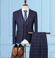 New Men Suit Classic Pink Grey Navy Plaid One Button 3 Pieces Wedding Suits For Men Latest Coat Pant Designs Plus 3XL