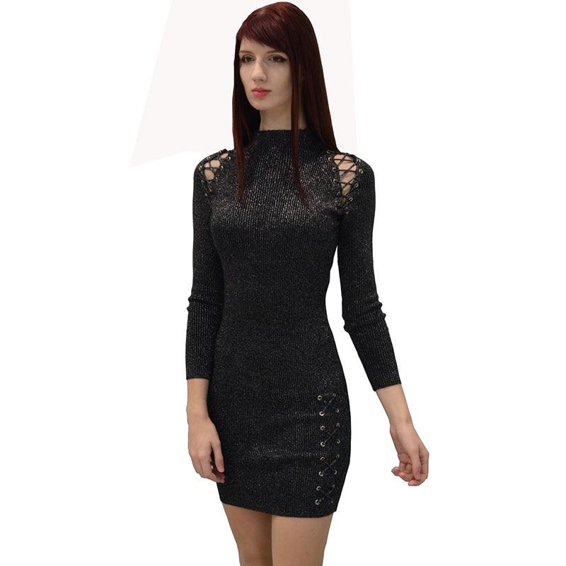 Fashion New 2017 Women spring autumn winter Sexy office lady striped dress bandage Black Dress Vestidos Long Sleeve mini Dresses