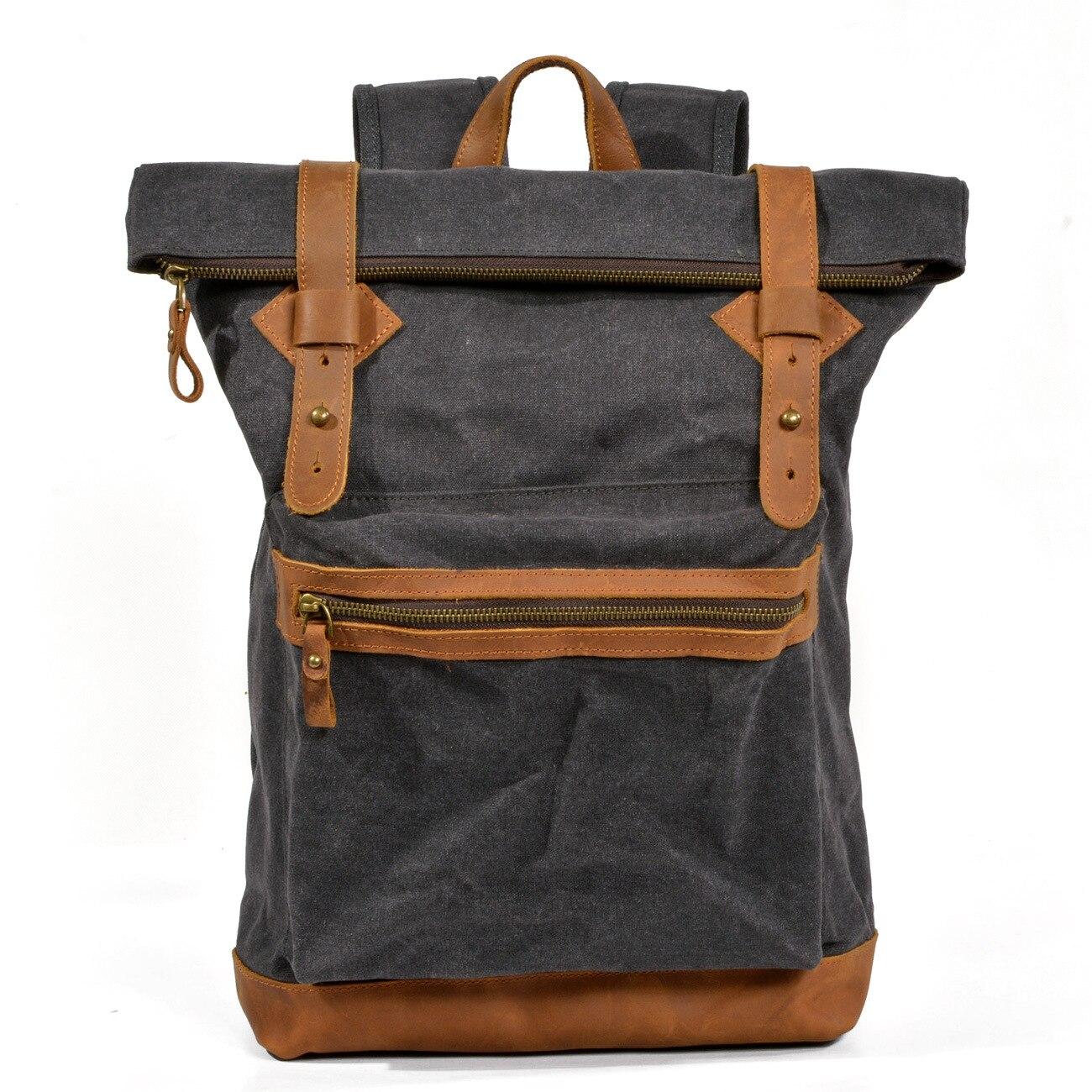 Toile rétro hommes épaule sac à dos sac à main étanche voyage randonnée collège sac grand ordinateur portable pliable sac à dos sac à dos armée vert