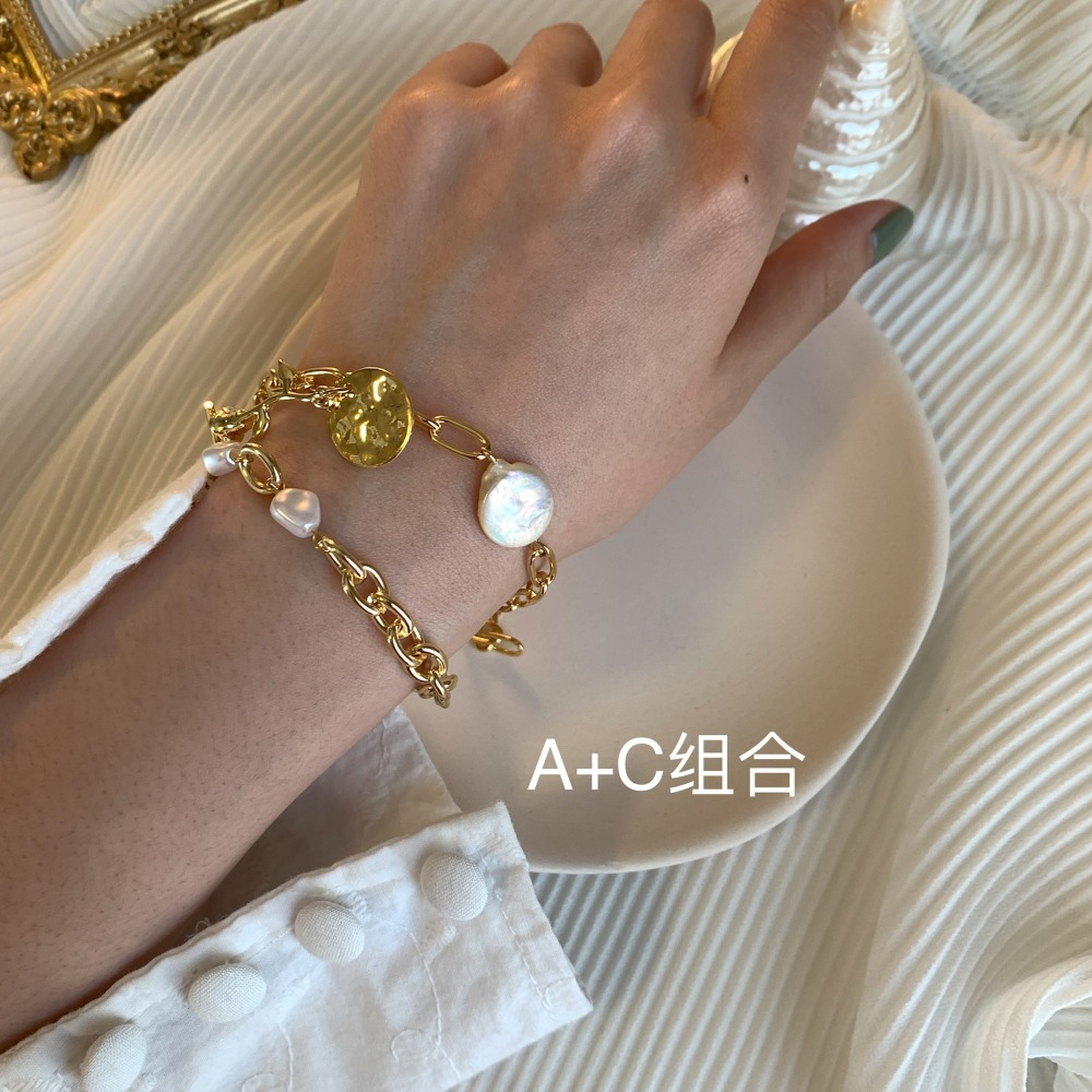 HUANZHI 19 New Gold Color Baroque Irregular Pearls Link Chain Tassel Bracelets for Women Girl Party Bangle Jewelry Gift 14