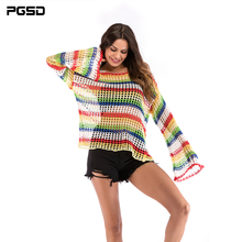 PGSD Loose Flare Sleeve color Crocheted hollow blouse thin knitted sweater O-Neck Pullover Fashion Striped women clothes female flare sleeve striped sweater