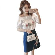 embroidery flower summer clothingset sweet fashion white shirt & denim skirts short skirt two pcs vogue lady suits vestido S-XL