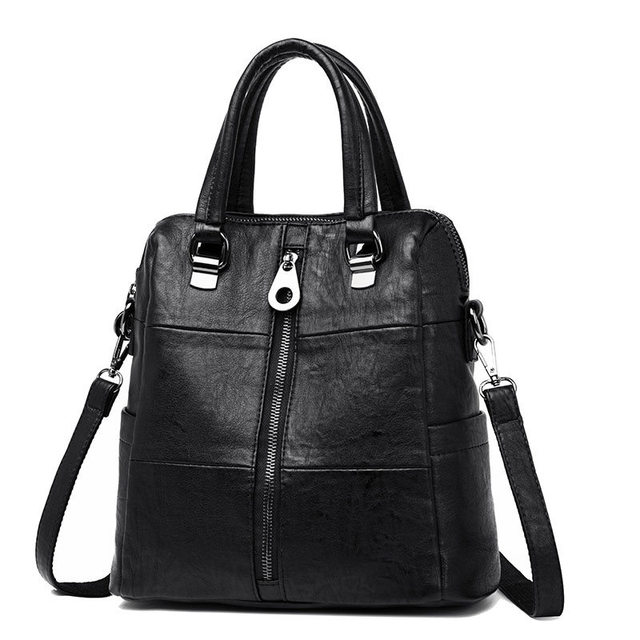 3-in-1 Women Leather Backpacks Vintage Female Shoulder Bag Sac a Dos Travel Ladies Bagpack Mochilas School Bags For Girls Preppy 1