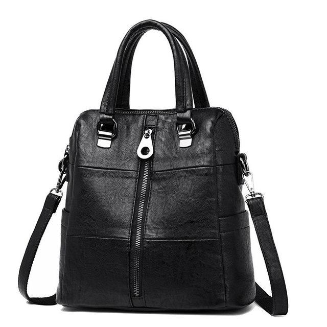 Red  Backpack Women 3-in-1 Leather Vintage Shoulder Bag