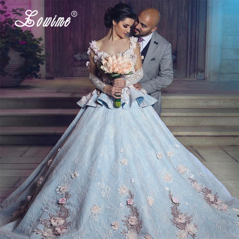 Vestido De Noiva Princesa 2017 Light Blue Arabic Wedding Dress Floral Lace Gelinlik Long Sleeve Bridal Dresses Abito Da Sposa