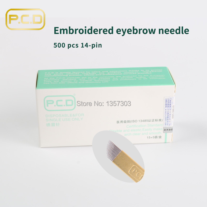 500pcs PCD 14 Prong flat Permanent Makeup Manual Needle Blades For Permanent Makeup Manual Pen Single
