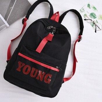 Women Letter Young Backpack Teenager Girls Nylon Casual School Bag Student Net Tide Mochila Escolar Waterproof Kanken Bookbag