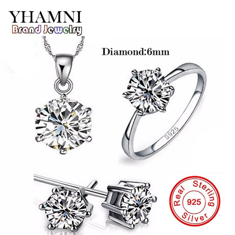Luxe merk 100% echt 925 sterling zilveren sieradensets Luxe CZ Diamant Wedding Engagement Bridal Sets voor vrouwen Afrikaanse YS052
