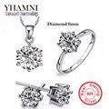 Marca de lujo 100% Real 925 Plata de La Joyería de Lujo CZ Diamond Engagement Wedding Nupcial Establece Para Las Mujeres Africanas YS052