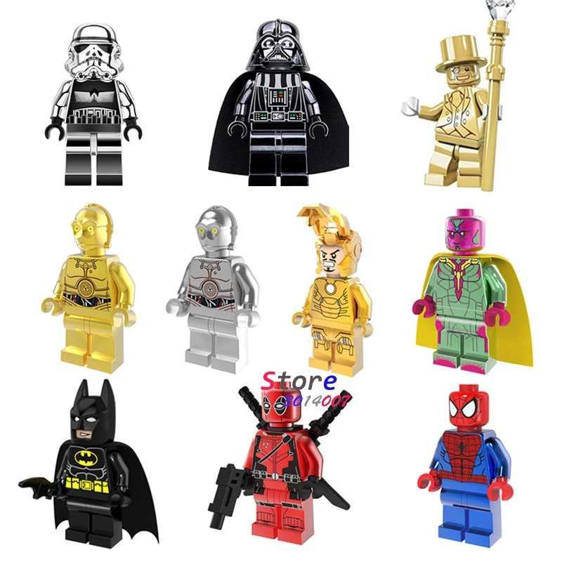 1 Uds cromo Imperial Darth Vader Señor de hierro de oro hombre conjuntos de bloques de construcción juguetes de bloques de modelismo para los niños