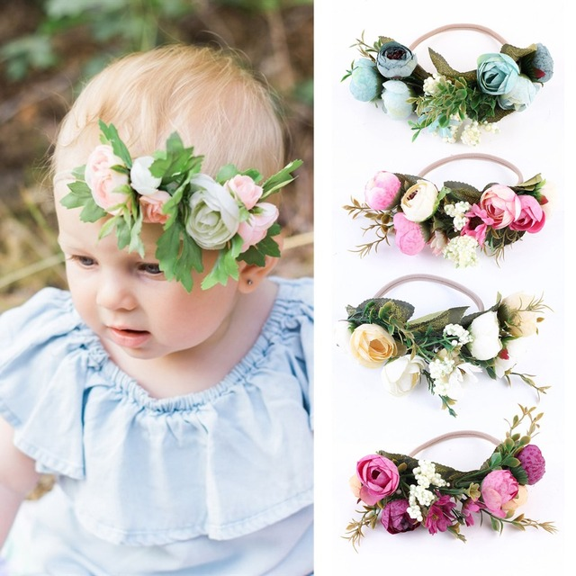 Puseky Baby Rose Flower Crown Headband For Baby Girl Wedding Party Festival  Beach Garlands Hairband Weath bb14e20f251