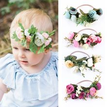 Puseky Baby Rose Flower Crown Headband For Baby Girl Wedding Party Festival Beach Garlands Hairband Weath Forehead Halo(China)