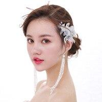 Os acessórios de noiva o novo 2017 orelhas pendurar fios de seda branca forma de leque longas orelhas pendurar uma foto do casamento acessórios