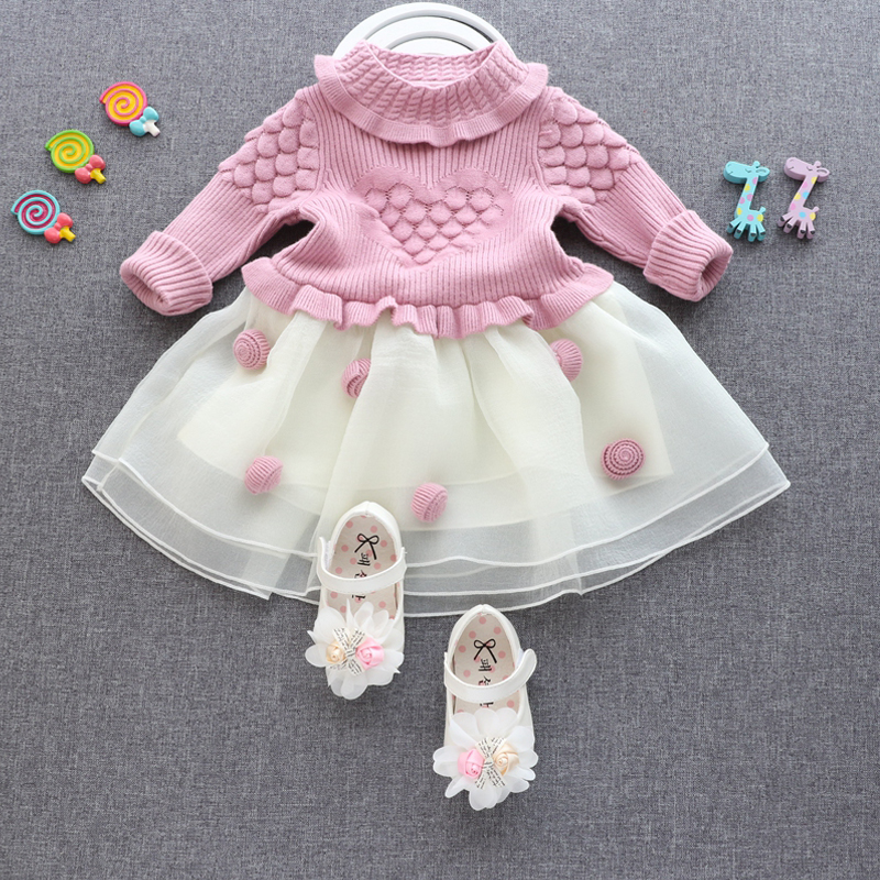 ФОТО New Design Girls Dresses Lovely Children clothing Spring Summer 2017 Knitted sweaters Splicing net yarn  girls clothes BS33