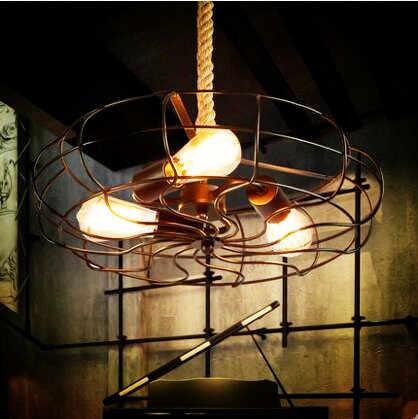 Вентилятор американский кантри LOFT промышленного подвесные светильники edison веревку старинные лампы Lamparas подвесной светильник